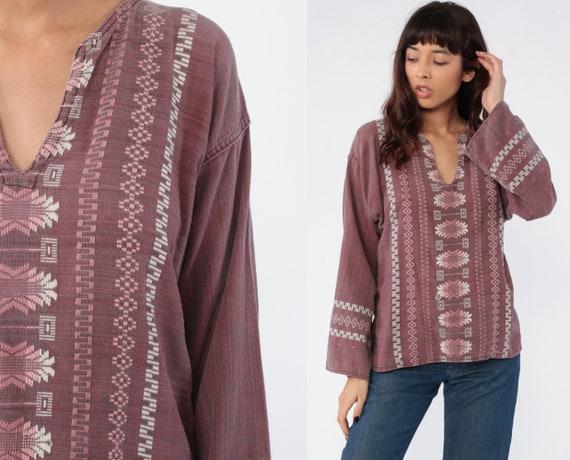 Embroidered Hippie Shirt Aztec Mexican Blouse Tunic Top Long Sleeve Shirt Tribal Bohemian Vintage Boho Ethnic Guatemalan Medium