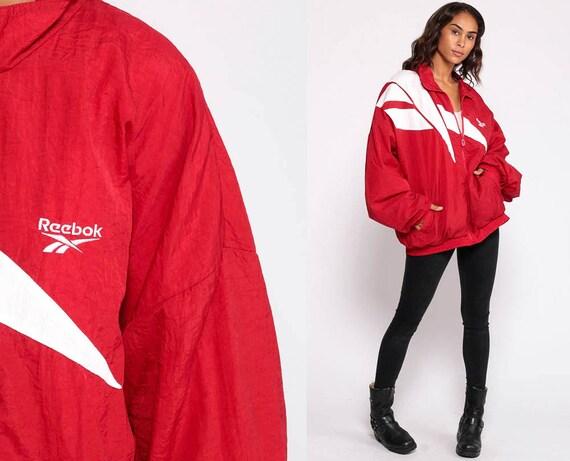Red Reebok Jacket 90s Windbreaker Jacket Streetwear Warm Up Sports Jacket Hipster Vintage Track Jacket Extra Large xl 2xl xxl