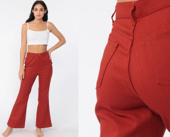 70s Levis Bell Bottoms Pants Rust Red High Waisted Trousers Hippie Flared Hipster 1970s Bohemian Cotton Vintage Boho Small