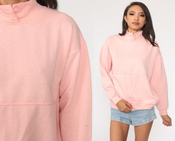 Pink Henley Sweatshirt Baby Pink Button Up Long Sleeve Shirt 1990s Plain Pullover Retro 1980s Nerd Geek Normcore Large