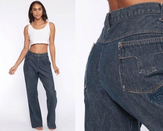 Denim Bell Bottoms Jeans 32 -- High Waisted Jeans 70s Boho Hippie Flared Denim Pants 1970s Vintage Blue Jean Medium