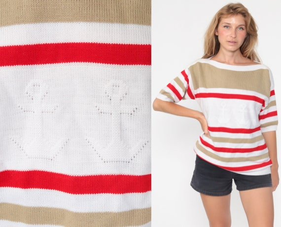 Anchor Sweater Top 80s Knit Shirt Striped Nautical Short Sleeve Sweater Yacht White Red Sailor Retro Striped Boatneck Large
