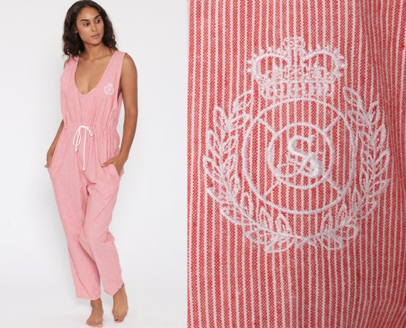 Red Striped Jumpsuit 80s Pinstriped Nautical Crest Sleeveless Playsuit Tapered Pant Cotton High Waist Summer Romper Vintage Pantsuit Medium
