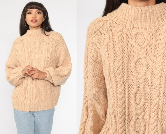 Beige Cable Knit Sweater 80s Slouchy Knit Boho Pullover Cableknit 1980s Jumper Chunky Cozy Vintage Medium Large