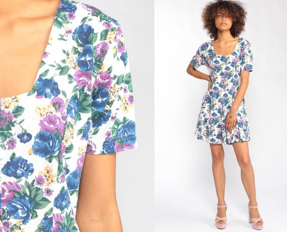 Floral Romper Dress 90s Boho Playsuit Mini Dress Onesie Grunge Blue White One Piece Woman 1990s Button Up Short Sleeve Medium