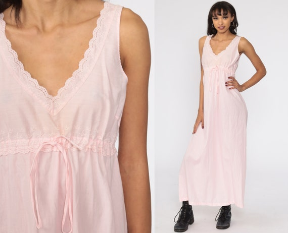 Baby Pink Nightgown Pastel Slip Dress Cotton Dress 80s Maxi Nightgown Boho Lingerie Vintage 70s Long Empire Waist Dress Nightie Small S