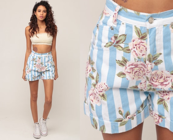 90s Denim Shorts High Waisted Floral Shorts Blue Jean Shorts Mom Shorts Rose Print Vintage 1990s Striped Pastel Blue Extra Small xs 0 00