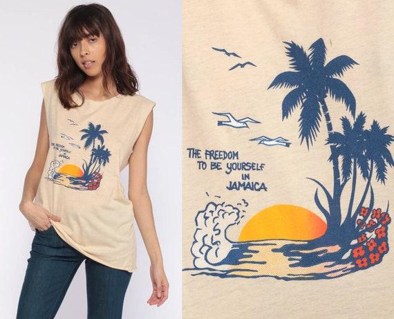 Jamaica Tank Top Tropical Graphic Shirt Palm Tree Seagull Bird Print Retro Tee Rasta 80s Vintage 1980s Caribbean Small Medium