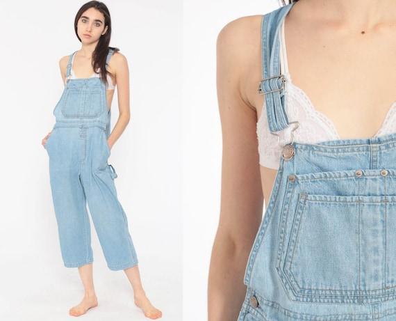 Cropped Denim Overalls Women 90s Grunge Bib Jean Capri Pants Blue Jean Suspender 1990s Jeans Normcore Vintage Small
