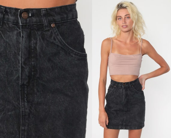 Black Jean Skirt 0 The Gap Denim Mini Skirt Jeans 90s High Waisted Acid Wash Skirt Grunge Retro Vintage Pencil Skirt Wiggle Extra Small xs