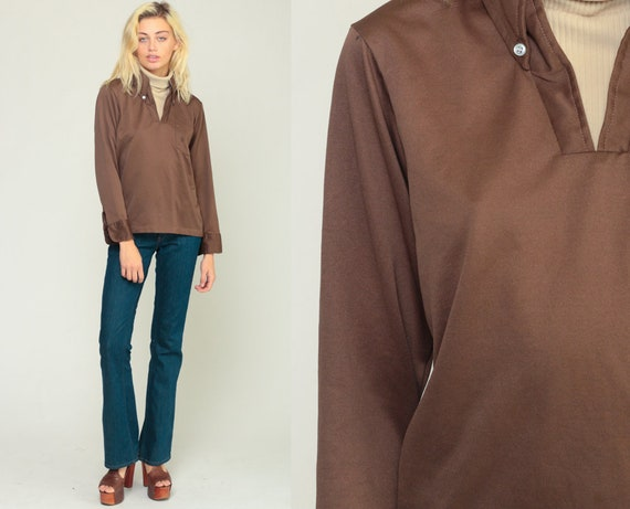 Turtleneck Shirt Brown Shirt 70s Top Long Sleeve Blouse Disco Shirt 1970s Funnel Retro Turtle Neck Top Vintage Plain Medium Large