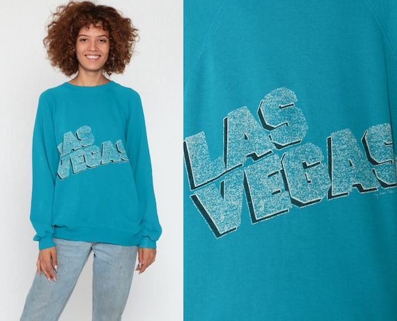 Las Vegas Shirt 80s Sweatshirt Raglan Sleeve Graphic Sweatshirt Retro Travel Slouchy Tourist Sweater Vintage Turquoise Blue Small Medium