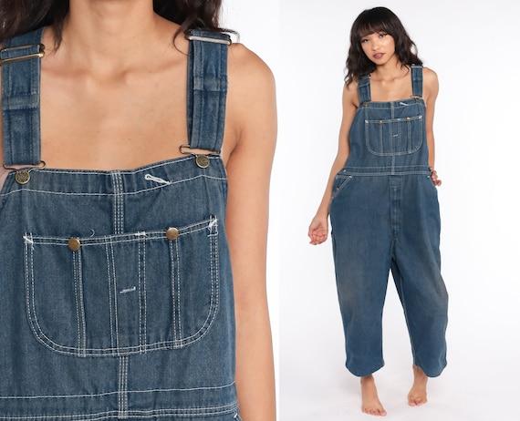 Dark Overalls Pants 70s Bib Overalls Pants Jean Dungarees Wide Leg Baggy Coveralls Long 1970s Blue Carpenter Large