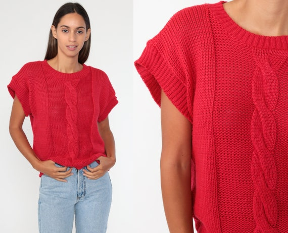 Red Knit Top Cable Knit Sweater Shirt 80s Cap Sleeve Short Sleeve Sweater Bohemian 1980s Slouchy Boho Medium Large