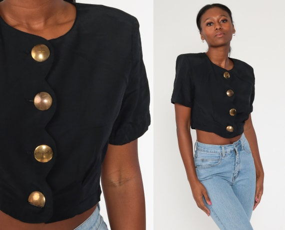 Black Cropped Blouse 90s Plain Crop Top 1990s Shirt Collared Button Up Shirt Short Sleeve Top Normcore Vintage Small Medium