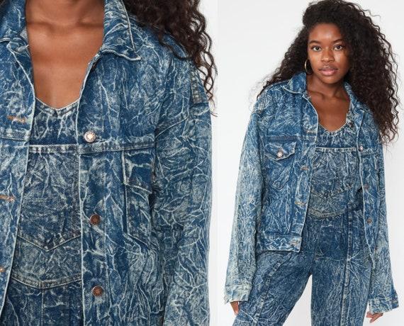 90s Denim Jacket ACID WASH Jean Jacket Vintage Grunge Jacket Trucker Button Up Blue 1990s Hipster Oversize Small S