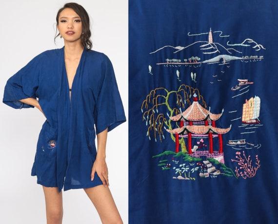Asian Kimono Robe -- Pagoda Robe Embroidered Dark Blue 80s Dressing Gown Bohemian Wrap Vintage Boho Hippie Small