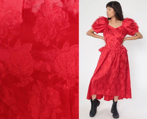80s Party Dress Red Satin Prom Lace Dress Puff Sleeve Dress 1980s Formal Dress Brocade Vintage Lace Midi Floral Medium