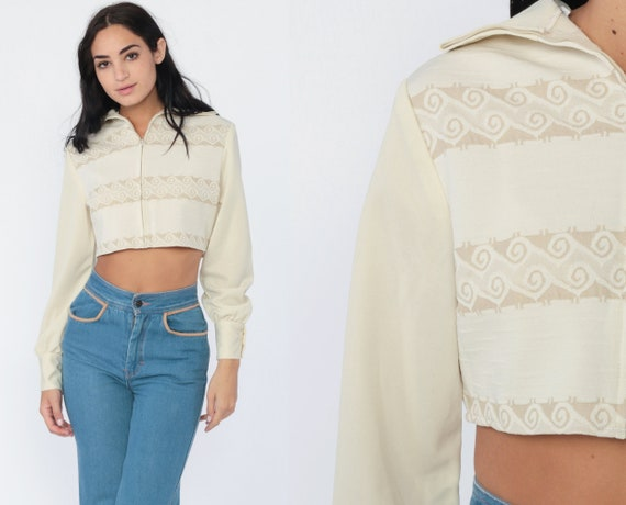 Long Sleeve Crop Top Geometric Shirt Retro Shirt 70s Top Beige Zip Up Boho Top Retro Vintage 1970s  Hippie Bohemian Small Medium