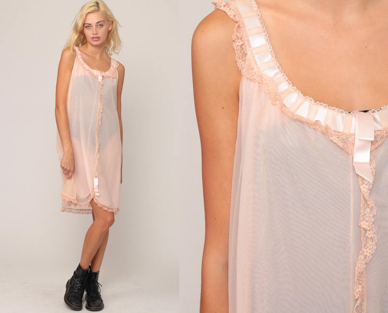 7713217f7cf Lingerie Set with Robe Peach NIGHTGOWN JACKET Set Sheer