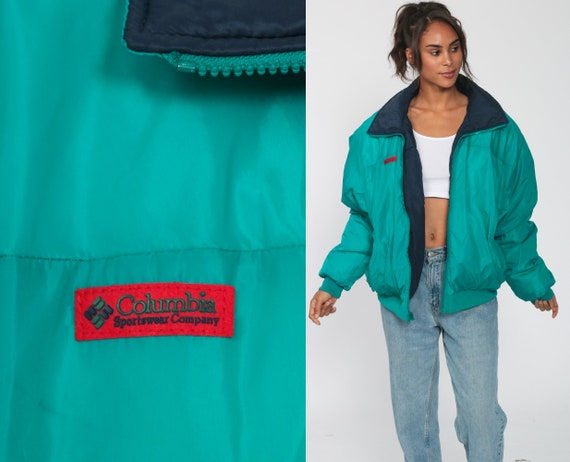 Columbia Ski Jacket REVERSIBLE Jacket GOOSE DOWN Fill Turquoise Green Blue Athletic Hiking Gear Jacket Vintage Jacket Extra Large xl l
