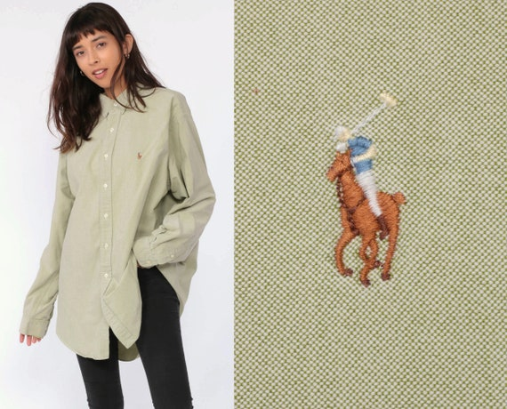 Ralph Lauren Shirt 90s Polo Sport Oxford Light Green 1990s Long Sleeve Boyfriend Button Up Vintage Oversize Extra Large xl 16 1/2