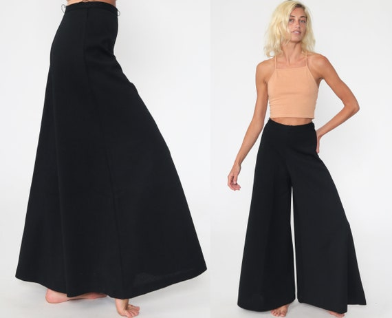 Black Palazzo Pants 24 Wool Trousers Wide Bell Bottom Pants Bohemian 70s Hippie Trousers 60s High Waisted Boho Festival Extra Small xs s