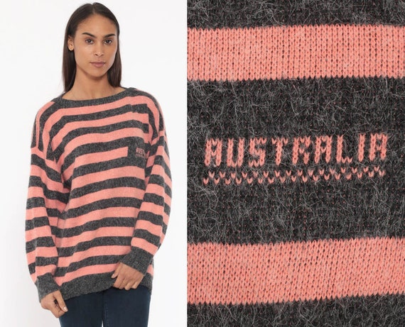 Australia Sweater 80s Pink Striped Fuzzy Sweater Retro Acrylic Knit Grey Slouchy Pullover Vintage 1980s Sweater Medium Large
