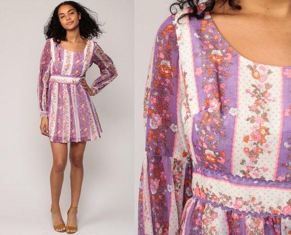 70s Mini Dress Floral Print Bohemian Babydoll 1970s Boho Mod Vintage Empire Waist Purple Peasant Twiggy Long Sleeve Minidress small