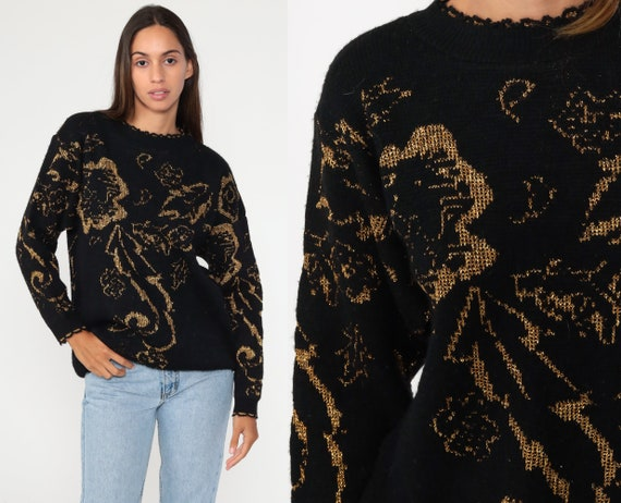 Metallic Floral Sweater 90s Sparkle Print Glitter Acrylic Lurex Flower Print Gold Black Long Sleeve Pullover Knit 80s Slouch Medium petite