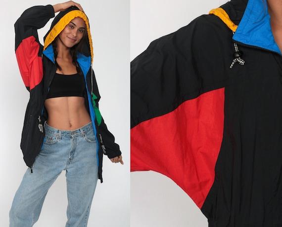 90s Head Windbreaker HOODED Pullover Hooded Windbreaker Jacket Black Color Block Hoodie Hipster Coat Vintage 80s Hood Medium Large