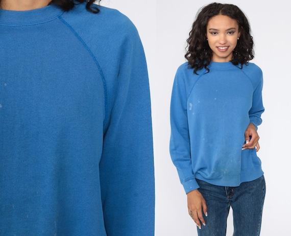 Blue Crewneck Sweatshirt 80s Raglan Sleeve Plain DISTRESSED Long Sleeve Shirt Slouchy 1980s Vintage Grunge Normcore Small Medium