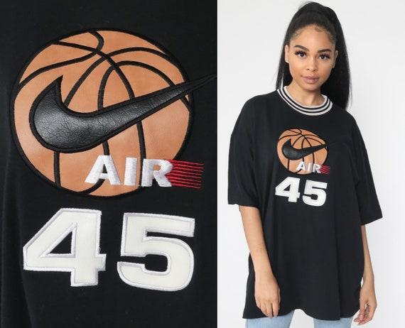 NIKE AIR Shirt -- 90s Athletic Black Basketball TShirt Streetwear Tee Vintage 1990s Sportswear Nike Swoosh Tee Extra Large xl xxl
