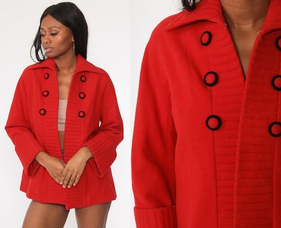 50s Swing Coat Red Wool Jacket 1950s Mid Century Coat Jacket Short A-Line 1960s Fall Jacket Topper Jacket Small Medium