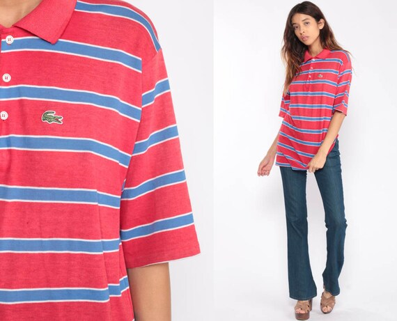 Lacoste Polo Shirt Striped Shirt 80s Top Izod CROCODILE Hipster 1980s Vintage Retro Preppy Red Blue Extra Large xl
