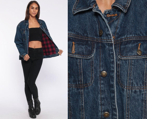 Wrangler Denim Jacket Plaid Lined 90s Jean Jacket Coat Biker Blue Trucker Jacket Vintage Oversize Retro Boyfriend Small Medium