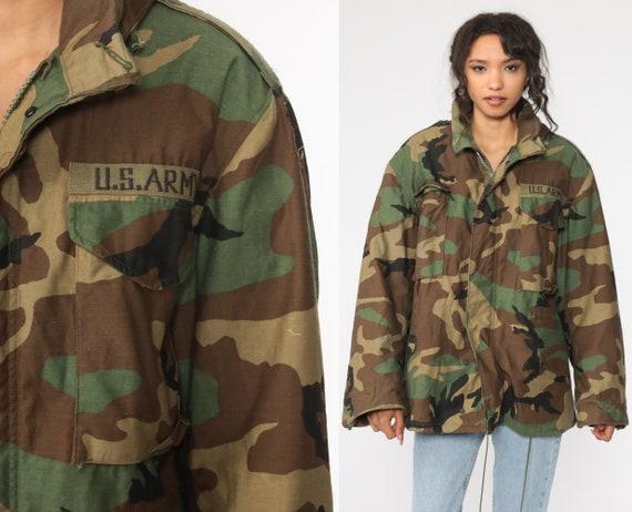 US Army Jacket Camo Jacket 80s Camouflage Military Uniform Utility Patch Commando 1980s Cargo Field Button Up Medium Short