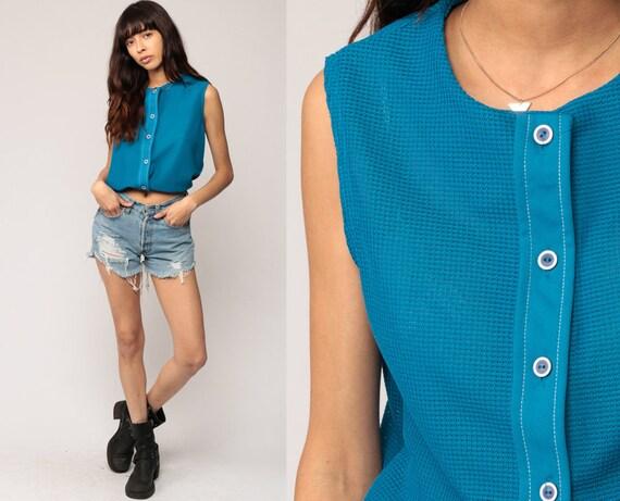 Sleeveless Shirt Blue Tank Top 80s Button Up Shirt Slouch Vintage Plain Grunge Tank Top Normcore 1980s Medium
