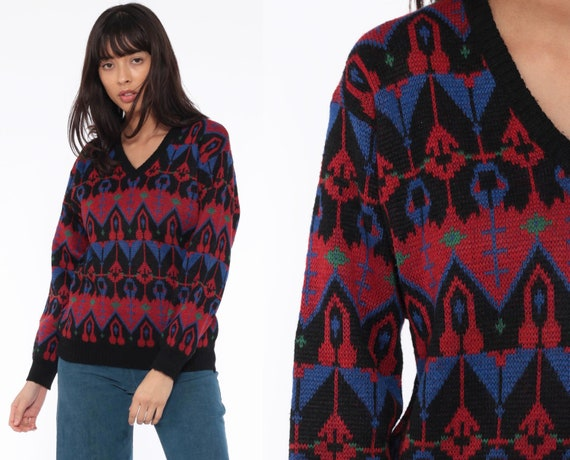Black Geometric Sweater -- 80s Sweater Wool Blend Knit Jumper Print V Neck 1980s Statement Vintage Pullover Retro Small