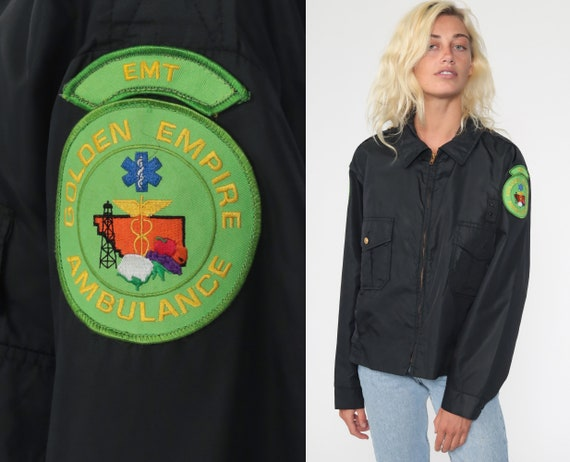 Vintage EMT Jacket Windbreaker Jacket 80s Golden Empire Ambulance Work Uniform Jacket Black Vintage 1980s Lightweight Retro Medium