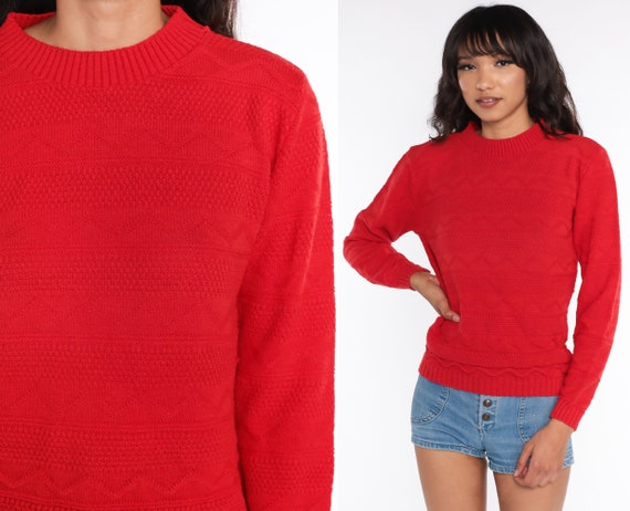 80s Sweater Red Sweater Slouchy Knit Textured Sweater 1980s Jumper Vintage Plain Normcore Retro Small Medium