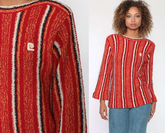Pierre Cardin Sweater 70s Striped Red Knit Bell Sleeve Sweater Boatneck Bohemian Hippie Sweater Pullover Vintage Boho Jumper Small