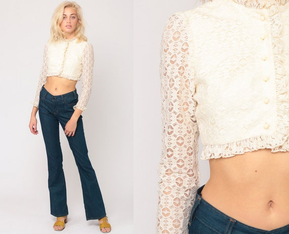 Cream Lace Blouse Boho Crop Top 70s Shirt Bohemian Party Hippie Blouse Button Up Top Victorian Long Sheer Sleeve Vintage Extra Small xs