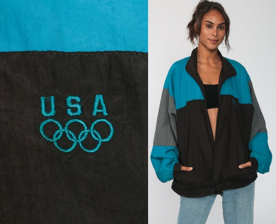 USA Olympic Jacket Windbreaker Jacket 80s 90s Nylon American Track Jacket Coat Vintage Black Blue 1980s Medium Large