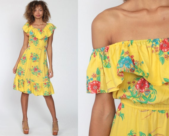 Floral Sun Dress Yellow Dress 70s Midi Tropical Boho Off Shoulder Peasant Flounce Sundress Vintage 1970s Bohemian Parrot Extra Small xs s