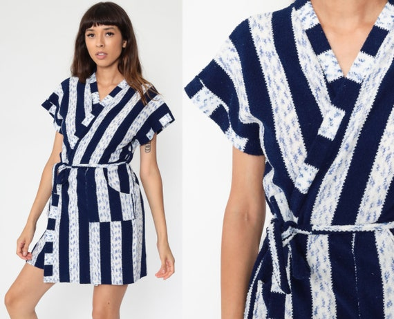 Striped Kimono Robe 70s Bohemian Wrap Japanese Robe Blue Mini Short Vintage Boho Hippie Small Medium