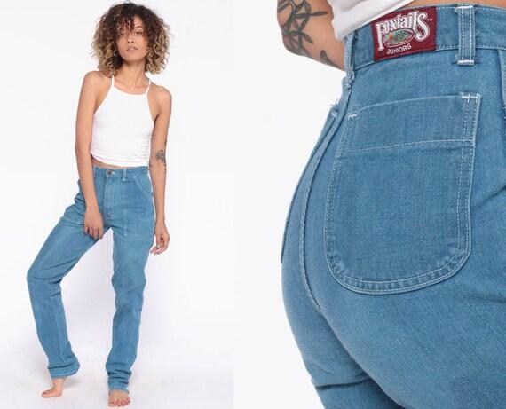 70s High Waisted Jeans 24 -- 1970s High Waisted Straight Leg Denim Pants Light Blue Western Bohemian FOXTAILS Extra Small XS