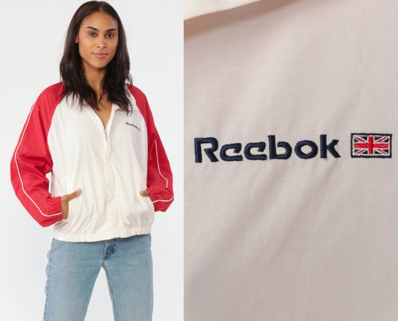 90s REEBOK Windbreaker Jacket -- Streetwear Warm Up Sports Vintage Color Block Red White Track Jacket 1990s Unisex Small Medium