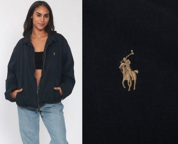 Ralph Lauren Jacket 90s Navy Blue Bomber Windbreaker POLO Sport Retro Sportswear Hipster Vintage 1990s Streetwear Preppy RLP Extra Large XL