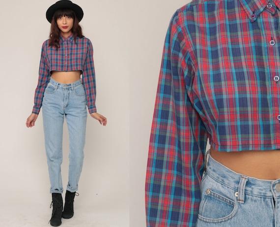 Checkered Shirt 80s CROP TOP Plaid Blouse Button Up Shirt Red Blue 1980s Long Sleeve Shirt Vintage Hipster Retro Small Medium